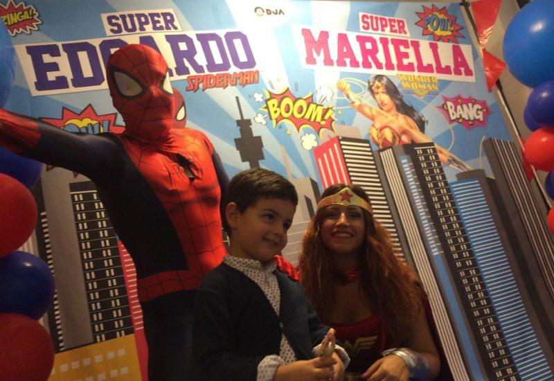festa a tema spiderman wonder woman kids party