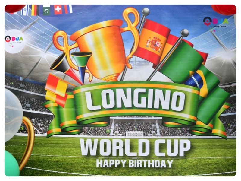 compleanno longino tema calcio world cup scenografia